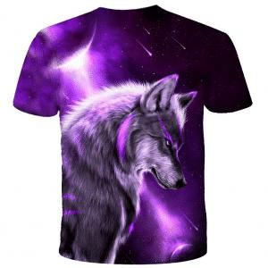 Arrière T-Shirt Loup Violet