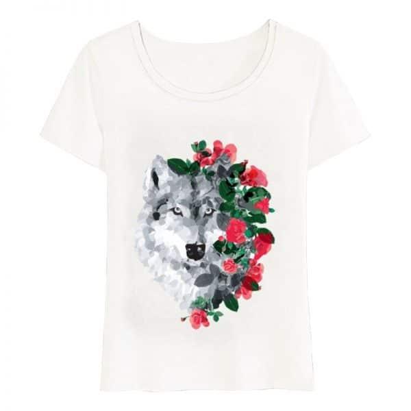 T-Shirt Loup Fleurs Femme