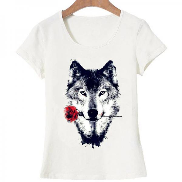 T-Shirt Loup Rose