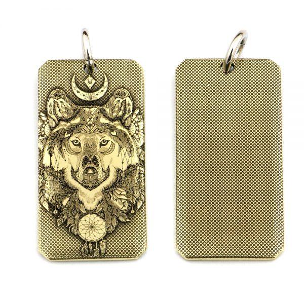 pendentif Loup Indien vue avant et arrière