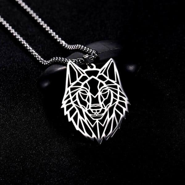 Collier Tête de Loup Origami sur fond noir