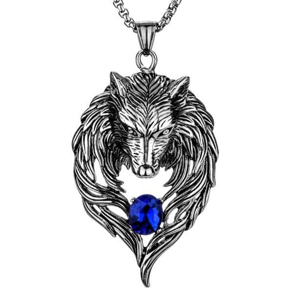 Collier Loup Motard Bleu