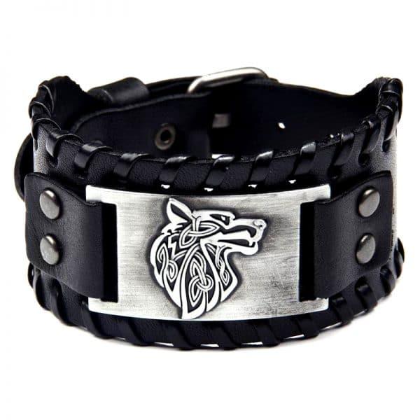 Bracelet Viking Tête de Loup Noir et Argent