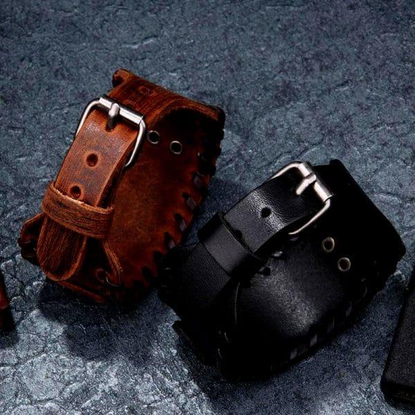 Bracelet Viking Tête de Loup Noir et Marron