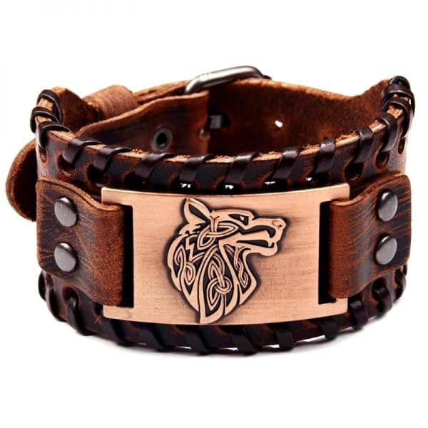 Bracelet Viking Tête de Loup Marron et Bronze