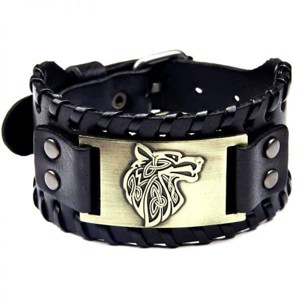 Bracelet Viking Tête de Loup Noir et Doré