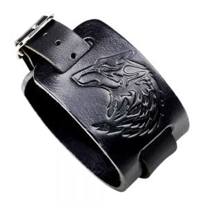 Bracelet Loup Cuir Noir