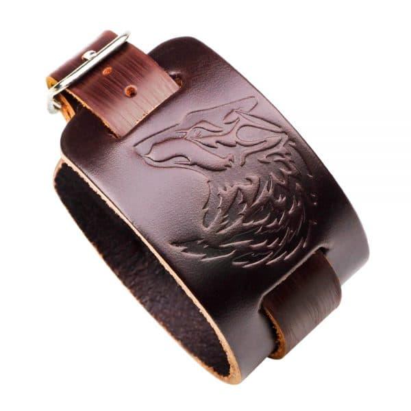 Bracelet Loup Cuir Marron