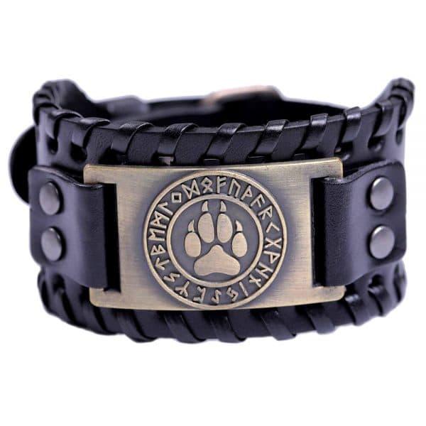 Bracelet Loup Viking Travaillé Noir Doré