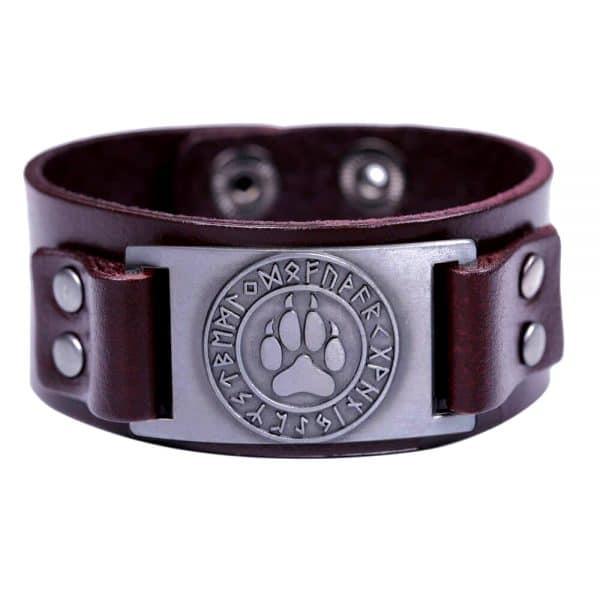 Bracelet Loup Viking Simple Marron Argent