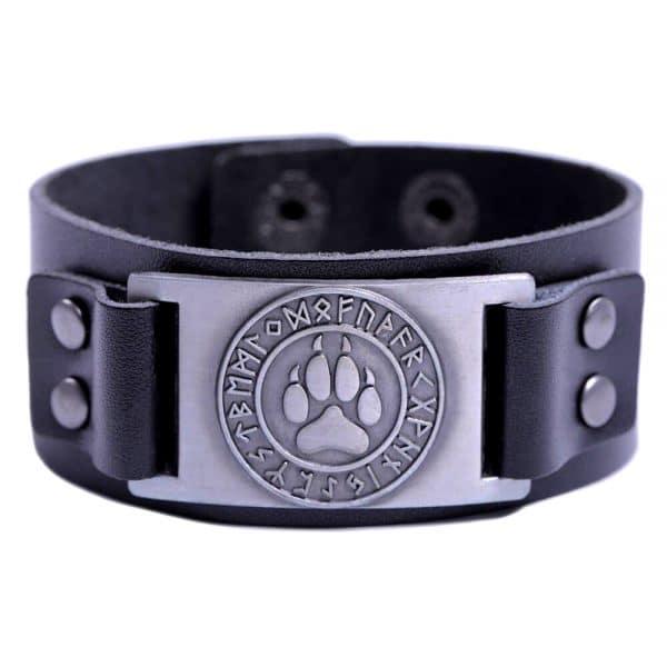 Bracelet Loup Viking Simple Noir Argent