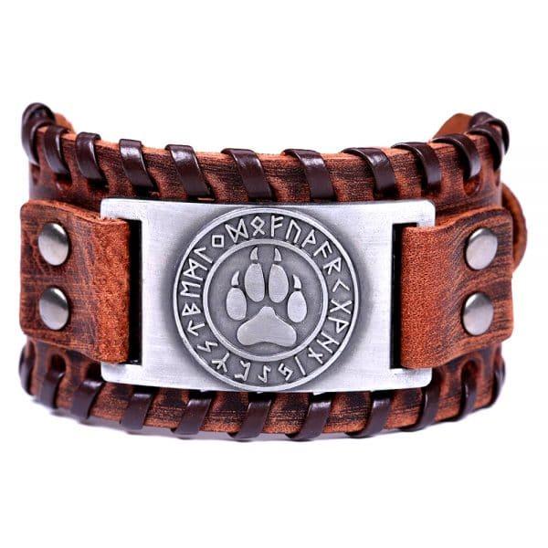 Bracelet Loup Viking Travaillé Marron Argent