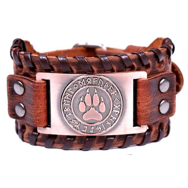 Bracelet Loup Viking Travaillé Marron Bronze