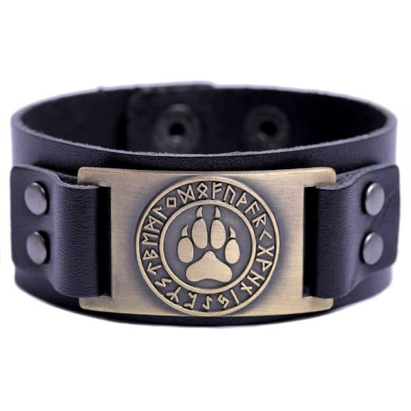 Bracelet Loup Viking Simple Noir Doré