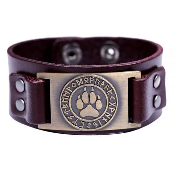 Bracelet Loup Viking Simple Marron Doré