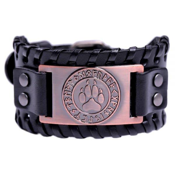 Bracelet Loup Viking Travaillé Noir Bronze