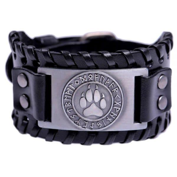 Bracelet Loup Viking Travaillé Noir Argent