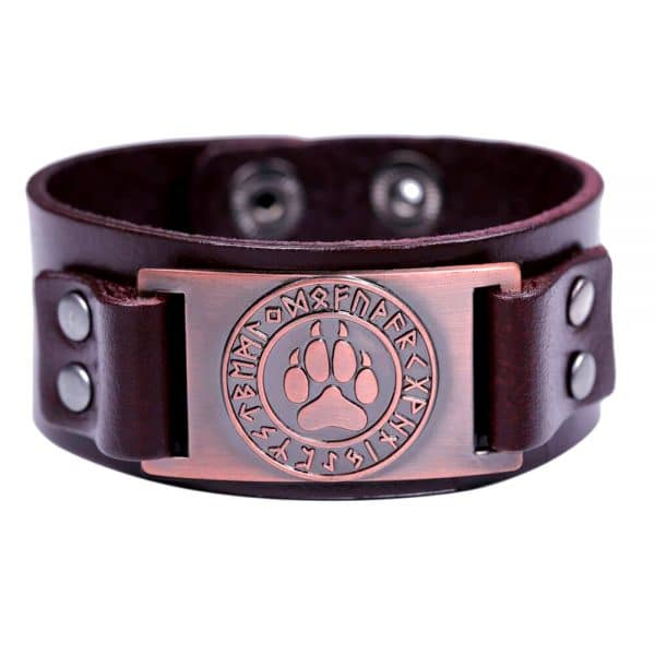 Bracelet Loup Viking Simple Marron Bronze