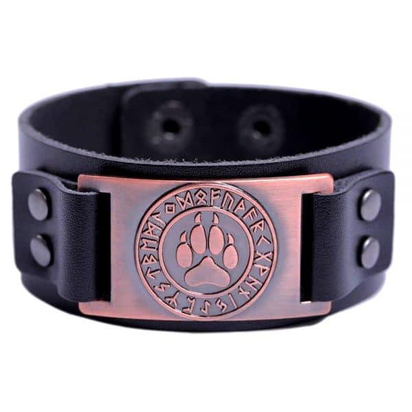Bracelet Loup Viking Simple Noir Bronze