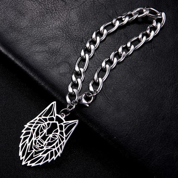 Bracelet Loup Origami en acier inoxydable