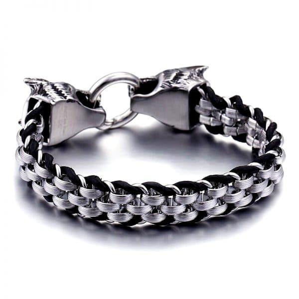 Bracelet Loup Biker en acier