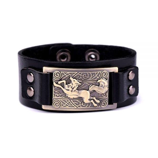 Bracelet Loup Nordique Simple Noir Doré