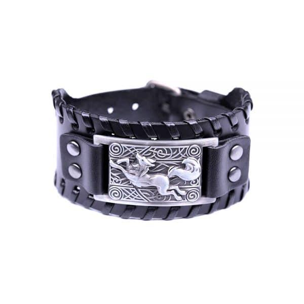 Bracelet Loup Nordique Travaillé Noir Argent