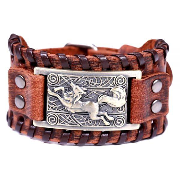 Bracelet Loup Nordique Travaillé Marron Doré