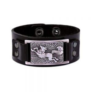 Bracelet Loup Nordique Simple Noir Argent