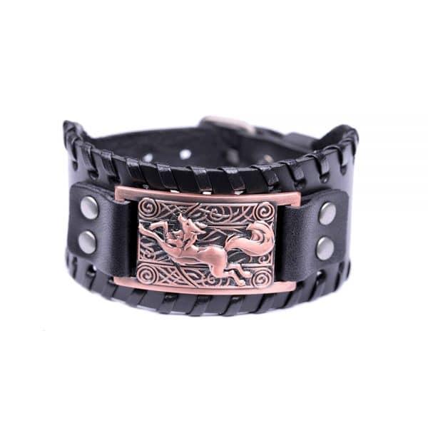 Bracelet Loup Nordique Travaillé Noir Bronze
