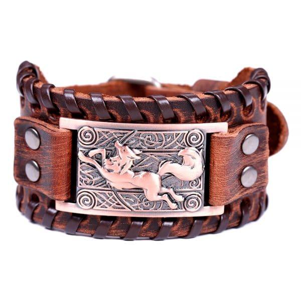 Bracelet Loup Nordique Travaillé Marron Bronze