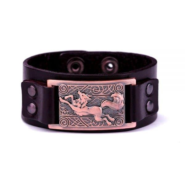 Bracelet Loup Nordique Simple Marron Bronze