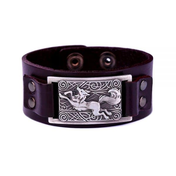 Bracelet Loup Nordique Simple Marron Argent