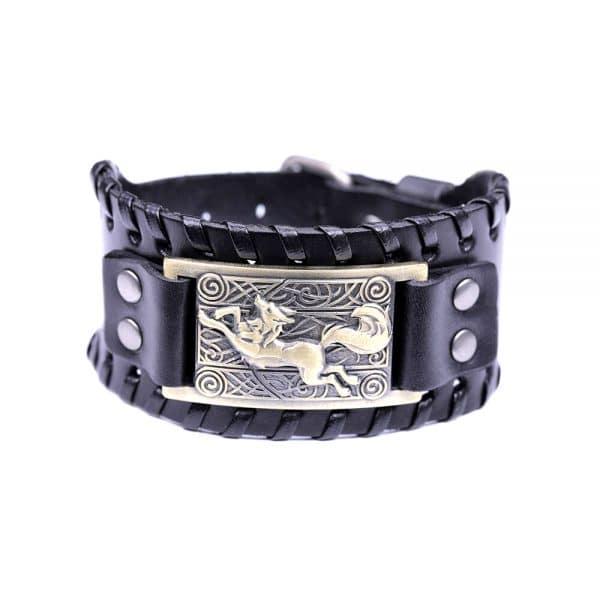 Bracelet Loup Nordique Travaillé Noir Doré
