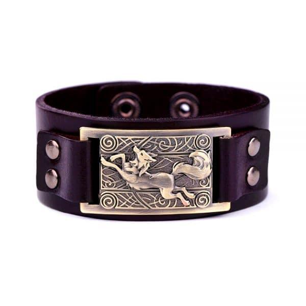 Bracelet Loup Nordique Simple Marron Doré