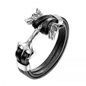Bracelet Loup Deux Têtes Argent