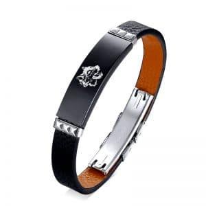 Bracelet Loup Cuir Véritable