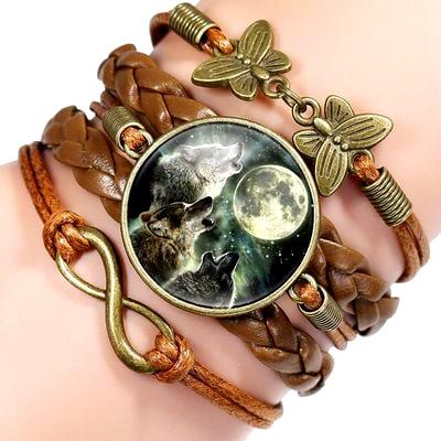 Bracelet Loup Pour Femme Marron 3