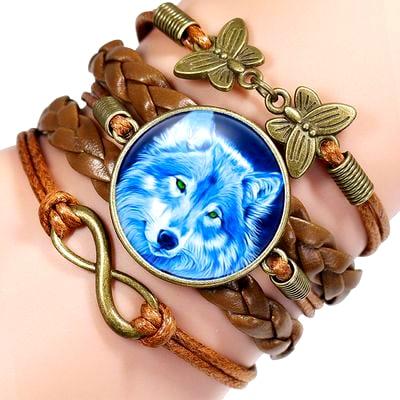 Bracelet Loup Pour Femme Marron 4