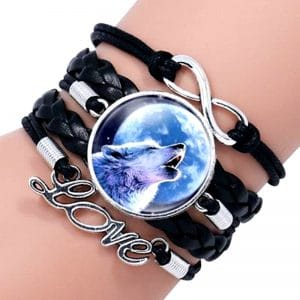 Bracelet Loup Pour Femme Noir 1