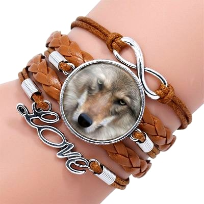 Bracelet Loup Pour Femme Marron 5