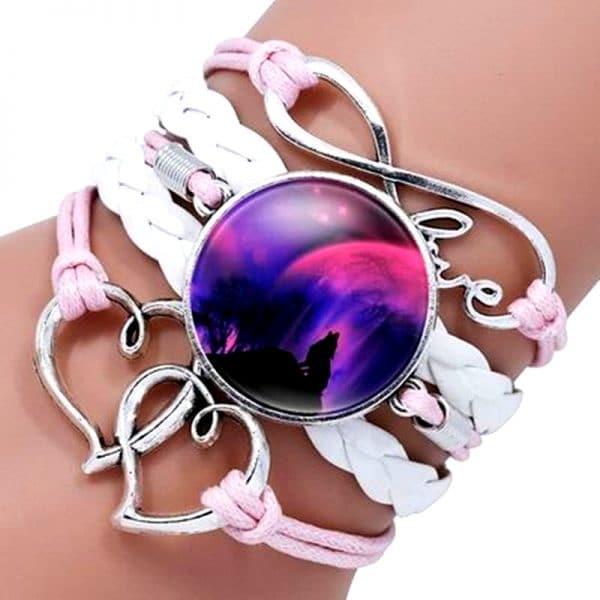 Bracelet Loup Pour Femme Rose et Blanc