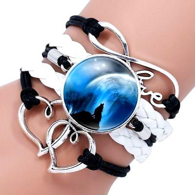 Bracelet Loup Pour Femme Noir et Blanc 1