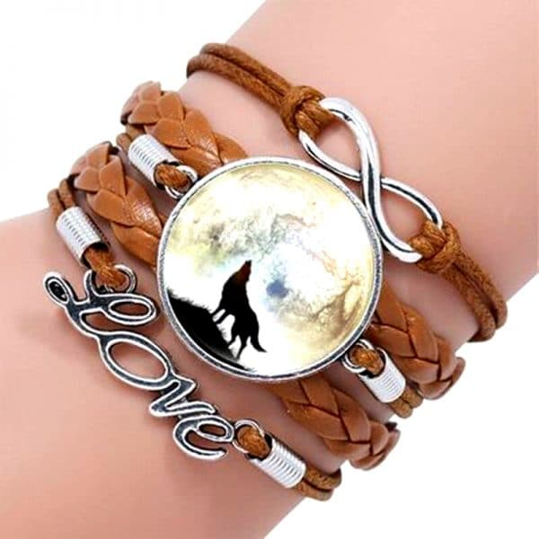 Bracelet Loup Pour Femme Marron 1