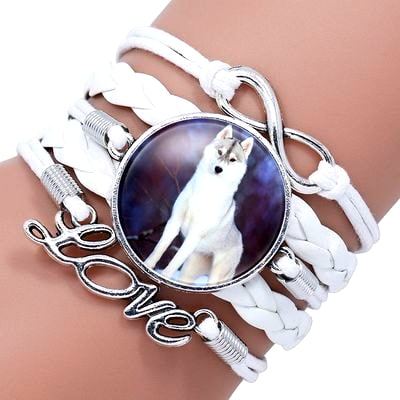 Bracelet Loup Pour Femme Blanc