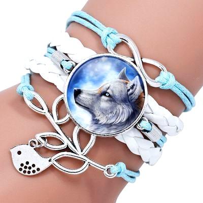 Bracelet Loup Pour Femme Bleu et Blanc
