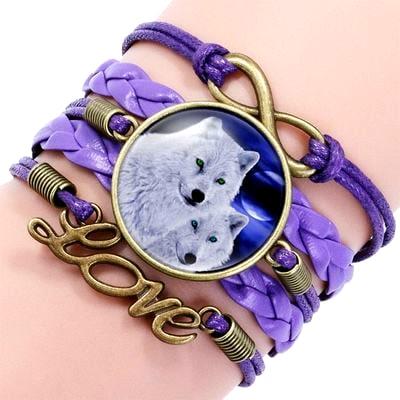 Bracelet Loup Pour Femme Violet