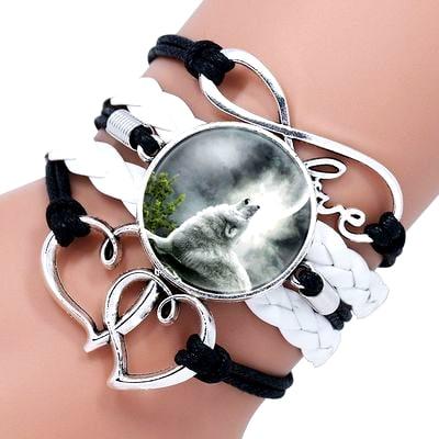 Bracelet Loup Pour Femme Noir et Blanc 2