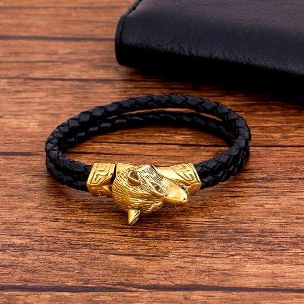 Bracelet Loup Sauvage en cuir