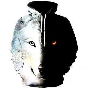Sweat Loup Noir et Blanc